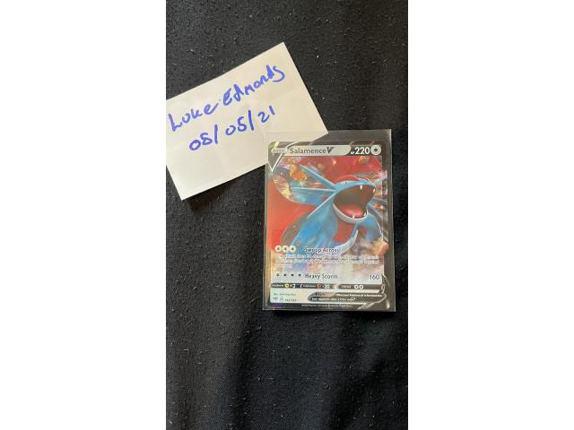 Salamence V 143/189 Rare Holo Pokemon Card - SWSH Darkness Ablaze - Pack Fresh - 2